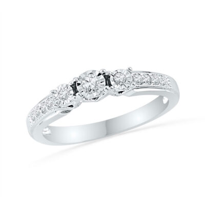 10kt White Gold Round Diamond 3-stone Bridal Wedding Engagement Ring 1/5 Cttw