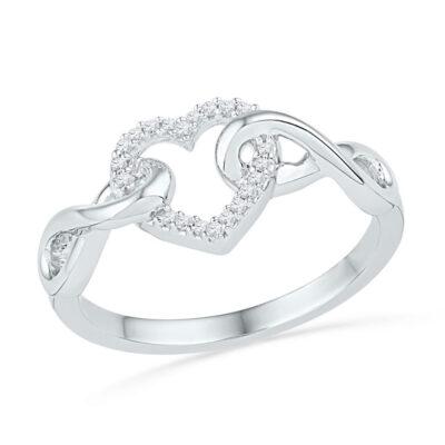 10kt White Gold Womens Round Diamond Infinity Twist Heart Ring 1/10 Cttw