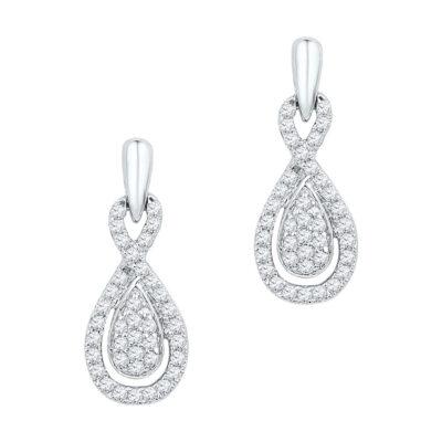 10k White Gold Womens Diamond Oval-shape Dangle Earrings 1/3 Cttw