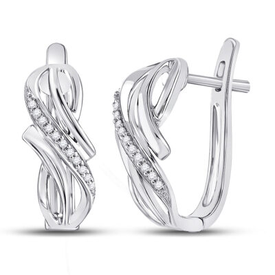 10kt White Gold Womens Round Diamond Hoop Earrings 1/12 Cttw