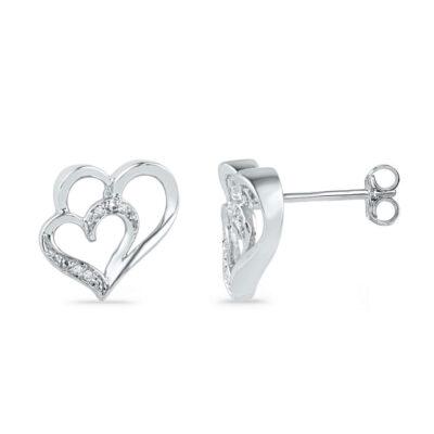 10kt White Gold Womens Round Diamond Heart Earrings .03 Cttw