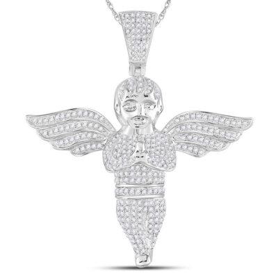 10kt White Gold Mens Round Diamond Angel Cherub Charm Pendant 1-1/2 Cttw