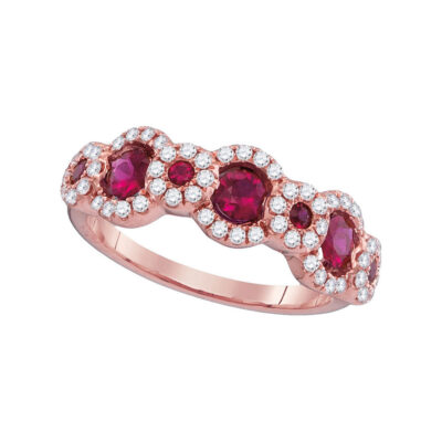18kt Rose Gold Womens Round Ruby 3-Stone Anniversary Ring 1 Cttw