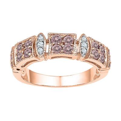 10kt Rose Gold Womens Round Morganite Diamond Band Ring 5/8 Cttw