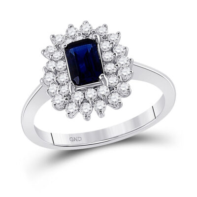 10kt White Gold Womens Emerald Lab-Created Blue Sapphire Solitaire Ring 1-1/3 Cttw