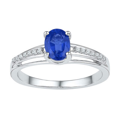 10kt White Gold Womens Oval Lab-Created Blue Sapphire Solitaire Ring 7/8 Cttw