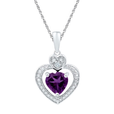 10kt White Gold Womens Heart Lab-Created Amethyst Heart & Diamond Pendant 3/4 Cttw