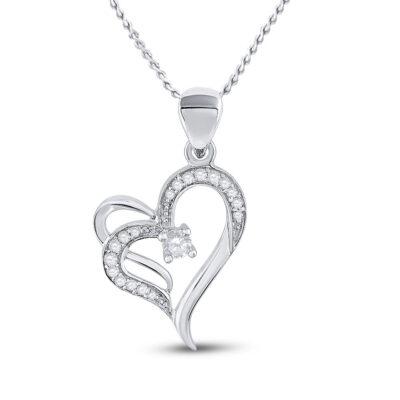 10kt White Gold Womens Round Diamond Heart Pendant 1/4 Cttw