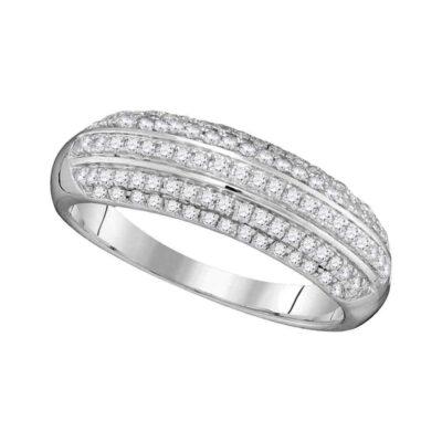 10kt White Gold Womens Round Diamond Fashion Band Ring 1/2 Cttw