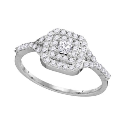 14k White Gold Princess Diamond Bridal Wedding Engagement Ring 1/2 Cttw