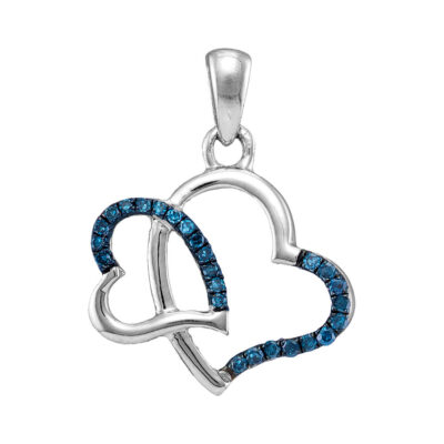 10kt White Gold Womens Round Blue Color Enhanced Diamond Heart Pendant 1/10 Cttw