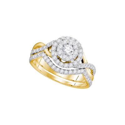 14k Yellow Gold Round Diamond Bridal Wedding Ring Band Set 7/8 Cttw