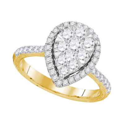 14kt Yellow Gold Round Diamond Teardrop Bridal Wedding Engagement Ring 1 Cttw