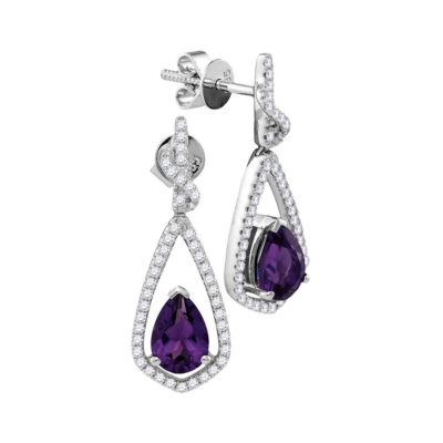 14kt White Gold Womens Pear Amethyst Solitaire Teardrop Diamond Dangle Earrings 1/3 Cttw