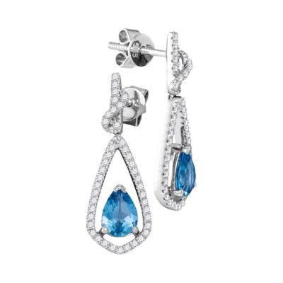 14kt White Gold Womens Pear Blue Topaz Solitaire Teardrop Diamond Dangle Earrings 1/3 Cttw