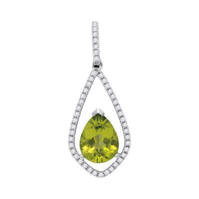 14kt White Gold Womens Pear Peridot Teardrop Diamond Pendant 2 Cttw