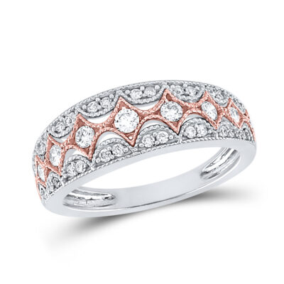 10kt Two-tone Gold Womens Round Diamond Band Ring 1/2 Cttw