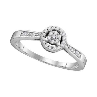 10kt White Gold Round Diamond Cluster Bridal Wedding Engagement Ring 1/8 Cttw