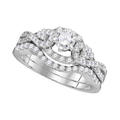 14k White Gold Round Diamond Woven Twist Bridal Wedding Ring Band Set 1 Cttw
