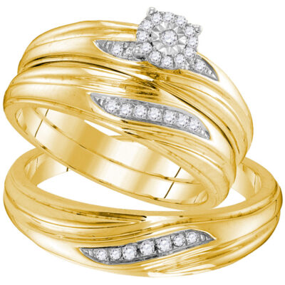 Yellow-tone Sterling Silver His Hers Diamond Matching Wedding Set 1/5 Cttw