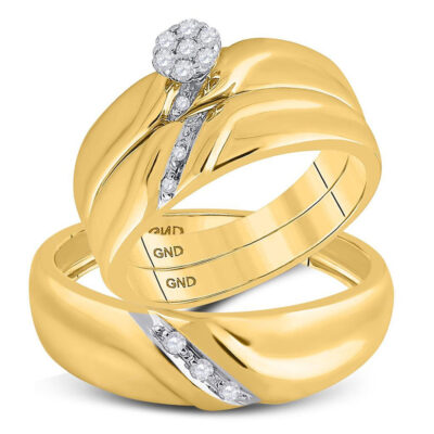 Yellow-tone Sterling Silver His Hers Round Diamond Matching Wedding Set 1/6 Cttw