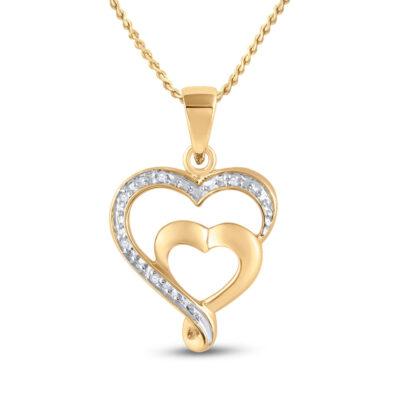 10kt Yellow Gold Womens Round Diamond Heart Pendant .01 Cttw
