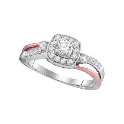 10k White Gold Round Diamond 2-tone Bridal Wedding Engagement Anniversary Ring 1/2 Cttw