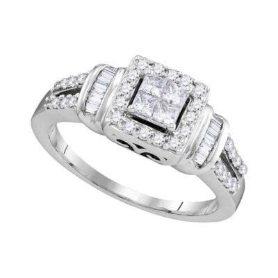 10kt White Gold Princess Diamond Halo Bridal Wedding Engagement Ring 1/2 Cttw