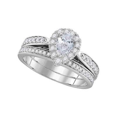14kt White Gold Pear Diamond Bridal Wedding Ring Band Set 1 Cttw