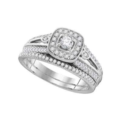 10k White Gold Round Diamond Halo Bridal Wedding Ring Band Set 1/2 Cttw