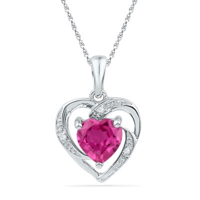 10kt White Gold Womens Round Lab-Created Pink Sapphire Heart Pendant 1 Cttw