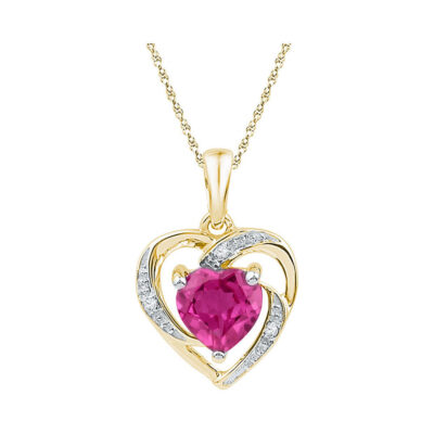 10kt Yellow Gold Womens Round Lab-Created Pink Sapphire Heart Pendant 1 Cttw