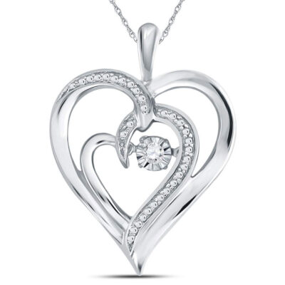 Sterling Silver Womens Round Diamond Heart Moving Twinkle Pendant .03 Cttw