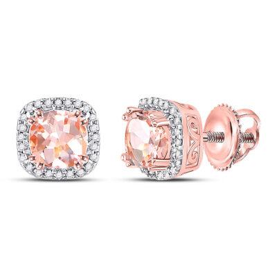 10kt Rose Gold Womens Cushion Morganite Diamond Halo Earrings 1 Cttw