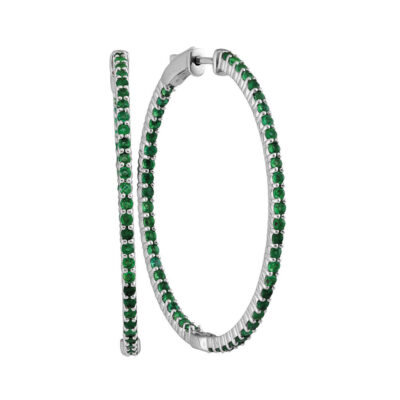 14kt White Gold Womens Round Emerald Hoop Earrings 3 Cttw