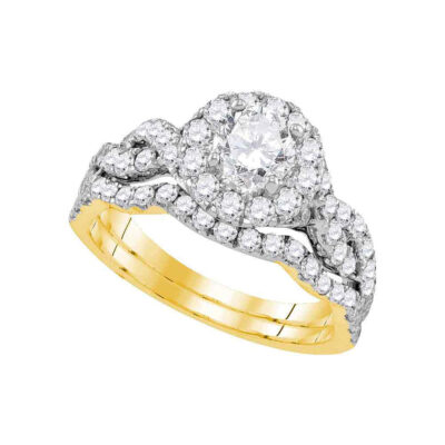 14kt Yellow Gold Round Diamond Bridal Wedding Ring Band Set 1-3/4 Cttw