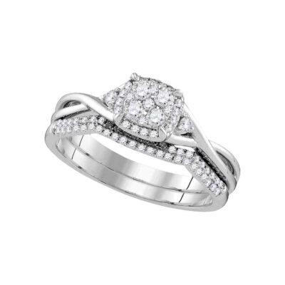 14k White Gold Round Diamond Cluster Bridal Wedding Ring Band Set 3/8 Cttw
