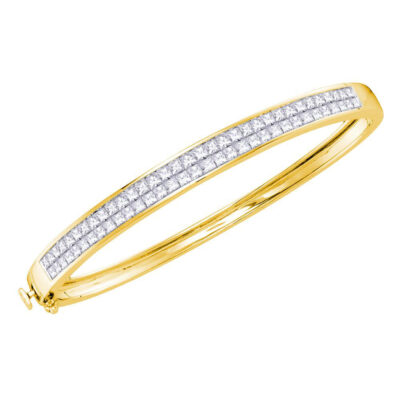 14kt Yellow Gold Womens Princess Diamond Bangle Bracelet 4 Cttw
