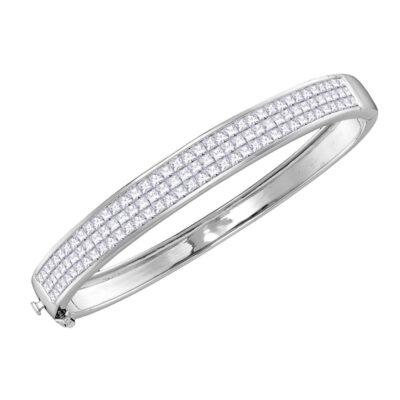 14kt White Gold Womens Princess Diamond Bangle Luxury Bracelet 6 Cttw