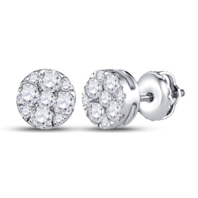 14kt White Gold Womens Round Diamond Fashion Cluster Earrings 1/2 Cttw
