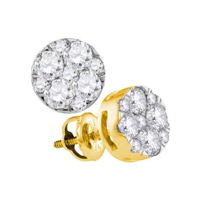 14kt Yellow Gold Womens Round Diamond Flower Cluster Earrings 1 Cttw