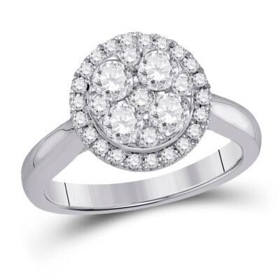 14kt White Gold Womens Round Diamond Fashion Circle Cluster Ring 1 Cttw