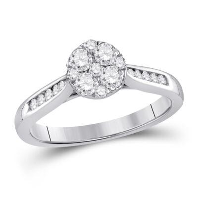 14kt White Gold Round Diamond Fashion Cluster Ring 1/2 Cttw