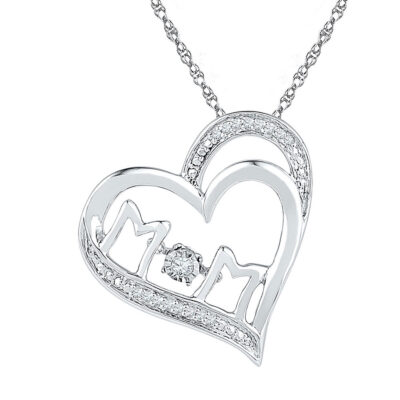 Sterling Silver Womens Round Diamond Heart Mom Mother Pendant 1/20 Cttw