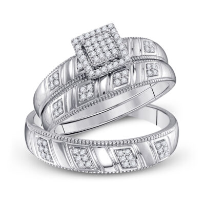 Sterling Silver His Hers Round Diamond Square Matching Wedding Set 1/4 Cttw