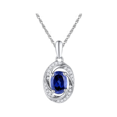 10kt White Gold Womens Oval Lab-Created Blue Sapphire Solitaire Diamond Pendant 1-1/3 Cttw