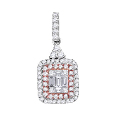 14kt White Gold Womens Round Pink Diamond Cluster Pendant 1/2 Cttw