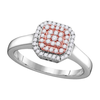 14kt Two-tone Gold Womens Round Pink Diamond Square Cluster Ring 1/4 Cttw
