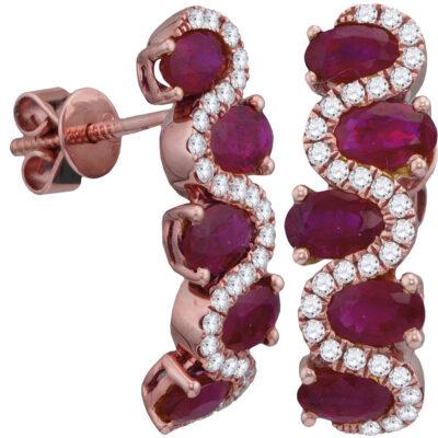 18kt Rose Gold Womens Oval Ruby Diamond Hoop Earrings 2-7/8 Cttw
