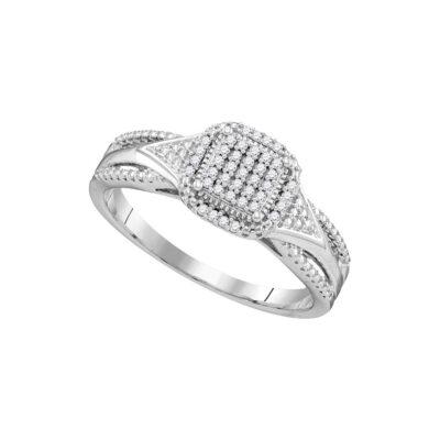 10kt White Gold Round Diamond Cluster Bridal Wedding Engagement Ring 1/10 Cttw